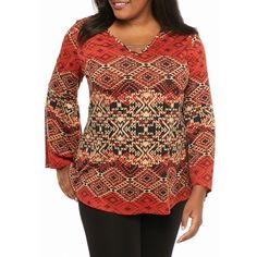 Kim Rogers Russet Quest Plus Size Bell Sleeve Hi-Low Knit Top -... (2.835 RUB) ❤ liked on Polyvore featuring plus size women's fashion, plus size clothing, plus size tops, russet quest, knit top, women's plus size tops, bell sleeve tops, boho chic tops and bohemian tops