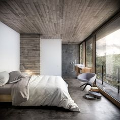 Bedroom with open view at House in Nature concept by Design Raum.