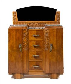 Marble-topped sideboard in a French Art Deco walnut dining suite