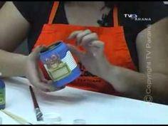 Reciclagem de lata com pintura e decoupage