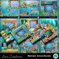 Digital Scrapbooking Kits | Mermaid School bundle-(LinsCre) | Beach, Fantasy, Kid Fun, Outdoors, School | MyMemories Mermaid School, Confirmation Page, Paint Shop, Photoshop Elements, My Memory, Easy Install, Photo Book, Digital Scrapbooking, Design Elements