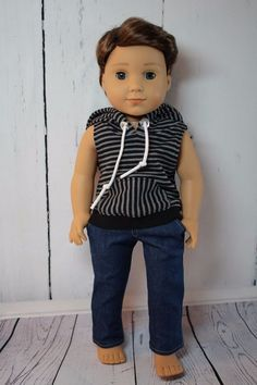 Cute Brown Striped Canvas Slip on Shoes Fits American Girl Boy Doll Logan 18/""