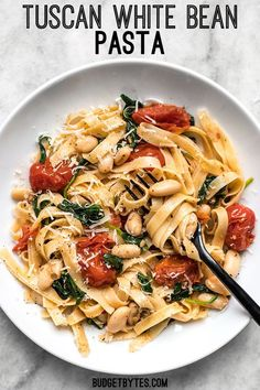 This Tuscan White Bean Pasta is a fast and flavorful dish that is perfect for weeknight dinners. The caramelized garlic, basil, and Parmesan pack a huge flavor punch!