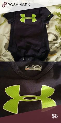 Under armour baby onesie Worn and washed once,  smoke free pet free home.  Navy blue with lime green under armour sign. Under Armour One Pieces Bodysuits