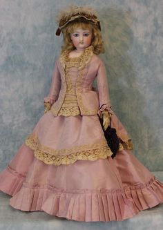 "Beautiful Antique Dress Fits 14-16/"" Lady Doll"