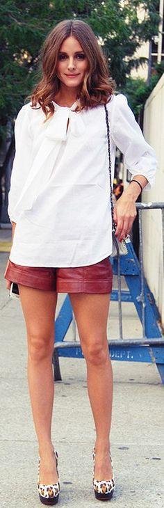 Shirt and shorts – Tibi, Shoes – Charlotte Olympia, Purse – Marchesa (2011)