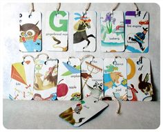 Hang Tags Made From Childrens' Books - The Little Golden ABC