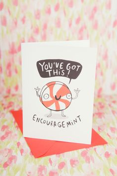 EncourageMINT - Greeting Card - Well Done - Good Luck - New Job - Congratulations - Anxiety - Courage by KatieAbeyDesign on Etsy https://www.etsy.com/listing/277765524/encouragemint-greeting-card-well-done