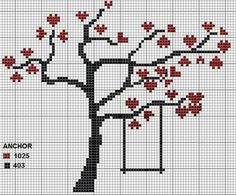 Kanavice Cross Stitch Pillow, Cross Stitch Tree, Mini Cross Stitch, Cross Stitch Heart, Wedding Cross Stitch Patterns, Modern Cross Stitch Patterns, Cross Stitch Designs, Cross Stitching, Cross Stitch Embroidery