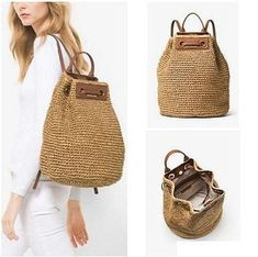 Michael Kors Krissy Straw Large Natural Leather Backpack off retail Crochet Backpack Pattern, Crochet Tote, Crochet Handbags, Crochet Purses, Drawstring Bag Diy, Basket Bag, Clutch, Leather Tassel, Natural Leather