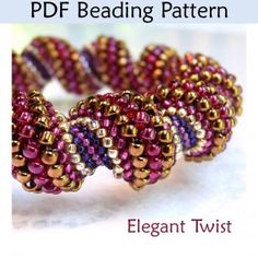 Elegant Twist PDF Beading Pattern  This pattern is for sale but I like the colourway