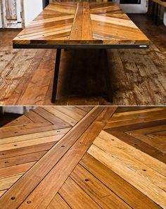 Uhuru Boardwalk table - wood from coney island. Overpriced but sweet