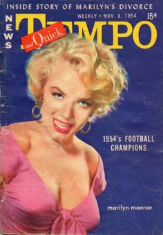 TEMPO and QUICK magazine 08-11-1954. Front cover photo of Marilyn Monroe.