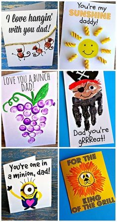 Creative Fathers Day Cards for Kids to Make Fathersday gifts and crafts - Crafts Diy Ideas Baby Crafts, Toddler Crafts, Crafts For Kids, Holiday Crafts, Holiday Fun, Cadeau Parents, Tarjetas Diy, Fathers Day Crafts, Kids Fathers Day Cards