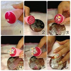 Genius technique to share that shows how to stamp, vamp and seal! Check it out. #stamping #manicures #diytips #shopbm  1. Paint your stamper with a clear coat (base or top coat) and let dry. 2. Stamp with the image of your choice. 3. With a nail brush and polish, paint over your stamped design and let dry. 4/5. Do your best to remove the dried design with twitters very carefully.  The design should come off like a nail sticker. 6. Apply the design to your nail and seal with a top coat.