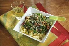 Recipe for tagliatelle with pancetta, broccoli rabe, and goat cheese - Food & dining - The Boston Globe