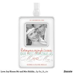 Shop Mr & Mrs First Christmas Mistletoes Photo Wedding Silver Plated Framed Ornament created by fat_fa_tin. Holiday Photos, Christmas Photos, Christmas Themes, Christmas Christmas, Our First Christmas Ornament, Photo Christmas Ornaments, Custom Banners, Holiday Festival, Silver Plate