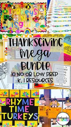 Thanksgiving Fun for K and 1 - 10 No or Low Prep Resources to get you through until the break.kindergarten and first grade math, writing, bulletin boards, and more! Math Writing, Work On Writing, Writing Paper, Writing Activities, Writing Centers, Teaching Resources, Teaching Ideas, Math Literacy, Preschool Activities