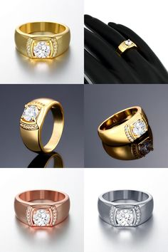 [Visit to Buy] ZR125-A-8 Top Quality 24K Yellow Gold Color Men Crystal Stone Ring Hot Items Male 2015 New Fashion Jewellery Accessories #Advertisement