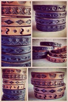 Hand stamped Leather Bangles for Men & Women, Earthy Leather Bracelets, Bangles, for Him