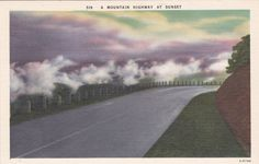 A Mountain Highway at Sunset Vintage Linen Postcard - Unused (D)