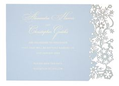 Chartula - Snowflake Bespoke Laser Cut Save the Date - Bluebell Cream - Luxury wedding stationery for a winter wedding by www.chartula.co.uk