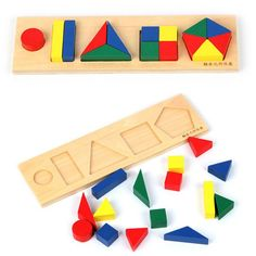 Baby Toys Montessori Geometric Shape Plate Educational Wooden Toys Geometric Assembling Blocks