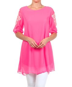 This Neon Pink Crochet-Trim Hi-Low Tunic -  by L & B is quite awful and not chiffony like it appears to be is also a peachy colour