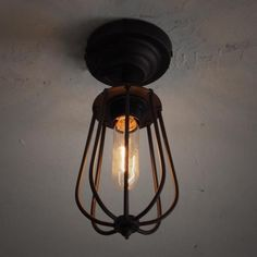 Hallway Industrial Vintage Ceiling Light Flush Mount 1 Light Ceiling Lamp - Beautifulhalo.com