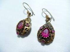 Silver Ruby Ring Earring Set Vintage Jewelry Set by JAYBAZAAR, $98.00