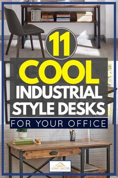 11 Cool Industrial Style Desks For Your Office - Home Decor Bliss Industrial Office Desk, Home Panel, Desks For Small Spaces, Home Board, Best Interior Design, Cool Diy Projects, Home Decor Items, My Dream Home, Home Office