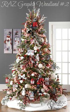 RAZ 2015 Graphic Woodland Christmas Tree visit for RAZ Christmas decorations Beautiful Christmas Trees, Colorful Christmas Tree, Christmas Tree Themes, Noel Christmas, Christmas Crafts, White Christmas, Holiday Decorations, Vintage Christmas, Christmas Movies