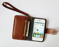 iPhone 4 Wallet - Leather iPhone Case with Crown Button Snap in Brown - for iPhone 4 or iPhone 4s - Handmade Hand Stitched - Free Monogram
