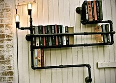 Grungy Industrial Plumbing Shelving, I love the unique flow of this unit!