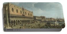 Canaletto Portable Battery Charger featuring the digital art Venice  The Doges Palace And The Riva Degli Schiavoni by PixBreak Art