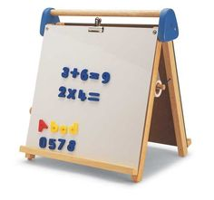 Pintoy Table Top Easel & Chalkboard - magnetic whiteboard on one side & traditional chalkboard on the other - educational & creative!