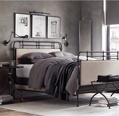 RH's French Académie Fabric Bed With Footboard:Employing industrial materials and masterful finishing techniques, our reproduction looks much like its early-20th-century French predecessor.