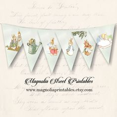 This listing is for an instant download of this adorable Peter Rabbit banner. THIS LISTING IS FOR THE DIGITAL FILE OF THIS BANNER WHICH WILL BE SENT TO YOUR E-MAIL. NO PHYSICAL ITEMS WILL BE SENT WITH THIS LISTING. This adorable Peter Rabbit banner would be great for Easter or spring decorating as well as a cute banner for a baby shower. ~ Electronic delivery of your item within 5 minutes of your purchase. ~ Each banner piece is 5 x 7 inches. 6 banner pieces in total. ~ Pdf and jpg format…