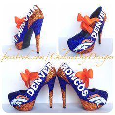 57981042a33 Denver Broncos Glitter High Heels Broncos Gear