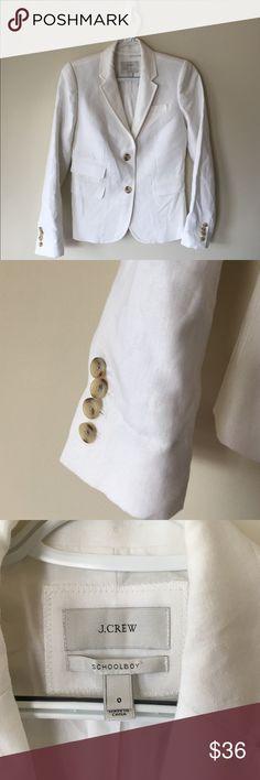 J. Crew Schoolboy white linen Blazer size 0 •EUC J. Crew Jackets & Coats Blazers