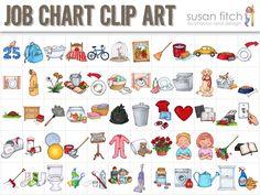 Job Chart Chore Chart Clip Art by SusanFitchDesign on Etsy