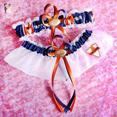 Customizable - Virginia Cavaliers fabric handmade into bridal prom white organza wedding garter set with your choice charms of footballs basketballs baseballs hearts or rhinestones - Bridal garters (*Amazon Partner-Link)