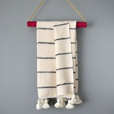 Striped Lightweight Cotton Moroccan Handwoven Pom Pom Throw Blanket – Yuba Mercantile Cotton Blankets, Throw Blankets, Classic Throws, White Throw Blanket, Black Stripes, Moroccan, Hand Weaving, Delicate, Traditional