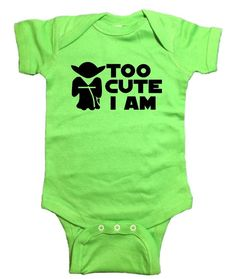Star Wars Yoda Baby Onesie Too Cute I Am Bodysuit - Star Wars Onsies - Ideas of Star Wars Onsies - Star Wars Onesie, Star Wars Shoes, Star Wars Outfits, Baby Bodysuit, Baby Onesie, Star Wars Gifts, New Baby Products, Onesies, Girl Outfits