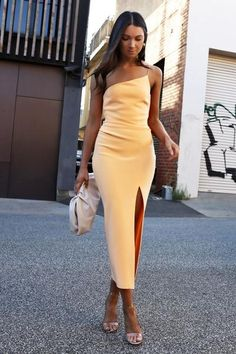 Asymmetric midi dress with slide split asymmetric neckline one shoulder strap straight across back leg split invisible zipper at centre back for entry Designed + made in Australia Elegant Midi Dresses, Formal Dresses, Ball Dresses, Evening Dresses, Midi Dress With Slit, Bodycon Dress Formal, Outfit Goals, Bridge, Outfits