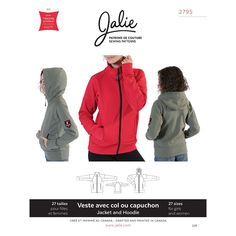 Zip-Front Jacket and Hoodie Jalie Sewing Pattern 2795.
