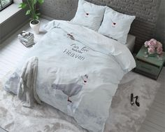 Birds in Heaven White - Dekbedovertrek met een vogel -  Bekijk alle dieren dekbedovertrekken van LivingComfort Textiel op https://www.livingcomforttextiel.nl/dieren-dekbedovertrekken.html