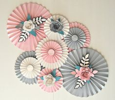 Floral paper fan rosettes pinwheels cake backdrop photo backdrop party decoration wedding decoration by lavonasnotesncrafts on etsy These beautiful rosettes would be the perfect backdrop decoration for your special occasion or to even decorate a nursery o Paper Fan Decorations, Backdrop Decorations, Wedding Decorations, Decor Wedding, Wedding Ceremony, Paper Wall Decor, Backdrop Ideas, Party Wedding, Diy Wedding
