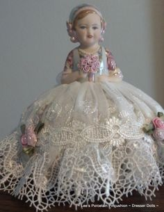 Hannah Adorable handcrafted porcelain half doll Pincushion ~ Dresser doll Lee's Porcelain Pincushion~Dresser Dolls