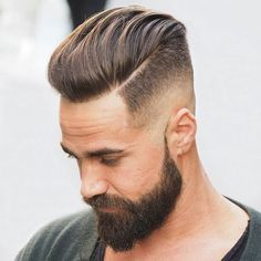 Cool part haircut for men with beards